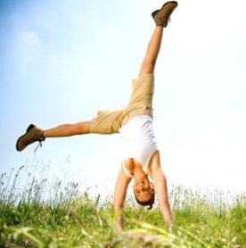 energetic woman doing acrobat