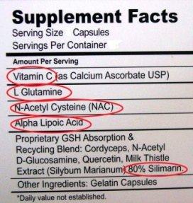 glutathione supplement label