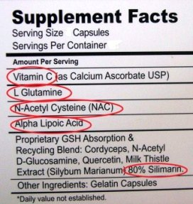glutathione supplement label